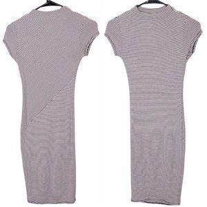 Black Bead Pinstriped Mock Neck BodyCon Dress